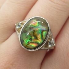 Avon 925 Sterling Silver Real Blue Topaz Abalone Shell Gemstone Ring Size 8 1/4