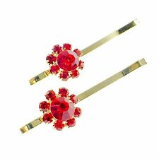 USA Bobby Pin Rhinestone Crystal Hair Clip Hairpin Jeweled Elegant Short Red