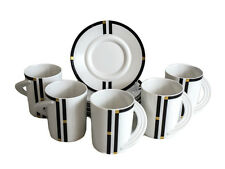 5 Rosenthal Porcelain Cup & Saucers in Cupola Nera Black Band Gold Stripes