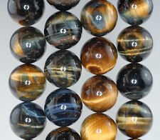 18MM GOLDEN BLUE TIGER EYE GEMSTONE HAWK EYE GRADE AA ROUND LOOSE BEADS 7.5""