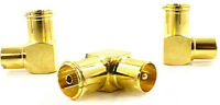 PACK OF 10 RIGHT ANGLED AERIAL ADAPTER TV MALE FEMALE CONNECTOR RF GOLD COAXIAL