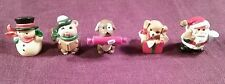 5 Older Hallmark Christmas Merry Miniatures Snowman Santa 2 Puppy Dogs & Mouse