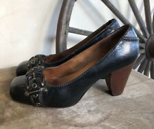 FRYE Black Leather Andie Pump Heels Equestrian Buckles Solid Shoes 8.5M