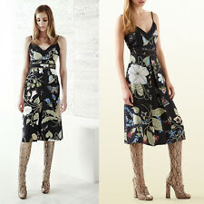 sz 38 XS NEW $3400 GUCCI Black FLORA KRIS KNIGHT Silk Floral RESORT Tank DRESS