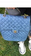 Chanel Denim Large Blue Backpack 2016 Auth GHW Flap Drawstring Bag Urban Spirit