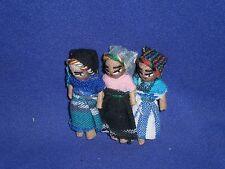 Vintage South American Miniature Three Doll Set Souvenir Pinback Pin 2 inch