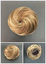 Hair Piece Hair Bun With Elastic, Wig ,Ash Blonde With Brown Streaks Extension
