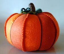 "Thanksgiving centerpiece figure fabric 9"" orange pumpkin weighted base"