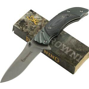 Browning Fluted Gun Metal Gray Linerlock Pocket Knife BR818 Satin Finish Blade