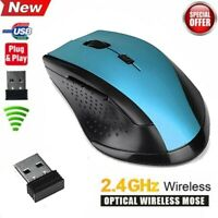 2.4GHz 6D Wireless Gaming Mouse Mice 2000DPI USB Optical Mouse For Computer Blue