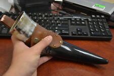 """BUFFALO HORN GAME OF THRONE MEDIEVAL DRINKING CUP LEATHER HOLSTER 10"""" #I"""