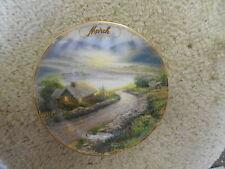 "Thomas Kincade Collector Plate March Emerald Isle Cottage 1998 Gold rim 5 3/4"""