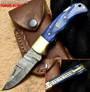 SFK Handmade Damascus Steel Hard Wood Hunting Folding Knife Back Lock