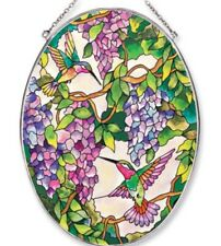 AMIA Studio Art Stained Glass Suncatcher Hummingbird Wisteria Oval Gorgeous