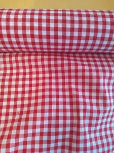 """RED GINGHAM CHECK 1/4"""" cotton mix fabric sold/PER METRE/"""
