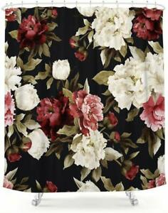 Nice! Watercolor Floral Farmhouse Shabby Chic Romantic Fabric Shower Curtain