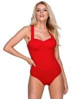 Body donna balconcino scollato cuore rosso elegante sexy nuovo