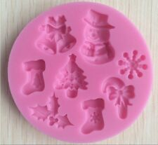 Christmas Tree Holly Jingle Bells Snowman Chocolate Silicone Mould Mold Baking