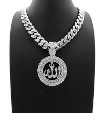 "Hip Hop Allah Pendant & 12mm 18"" Full Iced Cuban Link Choker Chain Necklace"