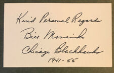 Bill Mosienko Autograph Index Card! Awesome