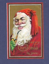 Antique Postcard Merry Christmas Santa Claus Green Glove Smoking Pipe
