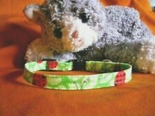Cat Collar Handmade - Lucky Ladybugs on Green Leaves Cotton Fabric. Meow