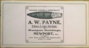 Cigar Label 1920s Newport, England, UK- A. W. Payne, 'Havana Cigars a Specialty'