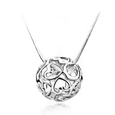 Ladies Jewelry Women Hollow Ball Heart Necklace Pendant Silver Chain