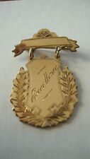 ANTIQUE 1945 GOLD PLATED BROOCH SCHOOL MEDAL HAND ENGRAVED FRONT EXCELLENCE