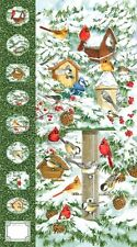 "Winter Birds Cardinal Panel Northcott Christmas Quilt Fabric 23"" x 44"""