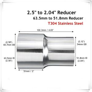 2.38'' ID To 2'' OD Stainless Steel Flared Exhaust Pipe Reducer Adapter