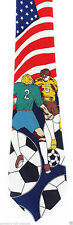American Soccer Men's Necktie Team Player Sports Fan Novelty Flag Neck Tie