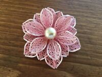 """Vtg Flower Brooch Pin 3 1/4"""" Pink Celluloid Lace 3D 30's Early Plastic RARE"""