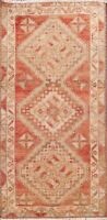 Geometric Authentic Oushak Turkish Area Rug Hand-knotted Traditional Carpet 1x3