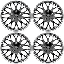 "4 pc Set Hub Cap ICE BLACK / CHROME TRIM 15"" Inch Rim Wheel Cover Caps Covers"