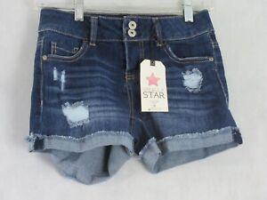 Vanilla Star Women's Ripped Denim Shorts, Dark Blue Wash, Size 0 / 24 Waist