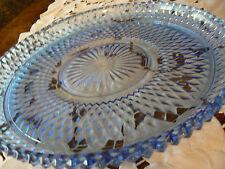 """VINTAGE BLUE GLASS LARGE SERVING PLATTER PLATE 12"""""""