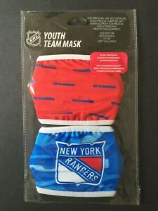 New York Rangers YOUTH SIZE Licensed 2 Pack Face Mask Covering - 50% Off SRP!