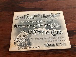 Rare ORIGINAL VINTAGE 1892  JOHN L. SULLIVAN vs JAMES J. CORBETT  BOXING Ticket