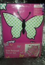 BNWT GIRLS PRINTED SINGLE DUVET COVER AND PILLOWCASE SET - BUTTERFLY DESIGN