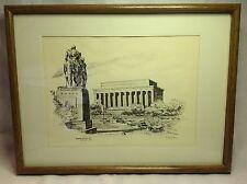 Vtg LINCOLN MEMORIAL Washington DC Print Lithograph Signed by Bulent Atalay 1975