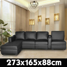 Corner Sofa Lounge Couch Modular Furniture Chair Home PU Leather Chaise Black L