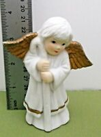 """White Porcelain Christmas Angel Figurine with Gold Wings Good Condition 4"""" Tall"""