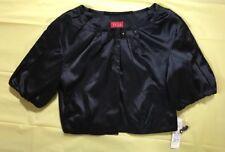 NEW ELLE BLACK SATINY Bolero Shrug Jacket Top Women's Sz MEDIUM Black Tie Event
