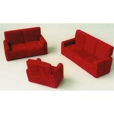Burgundy Modern 3 Piece Suite 1:12 Scale for Dolls House DF 851
