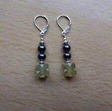 Unusual SERPENTINE / HEMATITE  drop EAR RINGS St Silver Gift wrapped