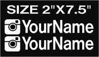 x2 CUSTOM INSTAGRAM USERNAME PERSONALIZED STICKER DECAL VINYL JDM EURO FONT 2