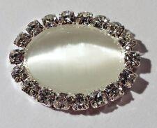 2 Silver Metal & Acrylic Ivory Bead Crystal Rhinestone Oval Embellishment M0184