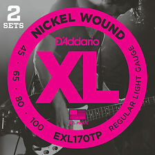 D'ADDARIO EXL170TP XL NICKEL BASS STRINGS 2 PACK - REG./LIGHT GAUGE 4's, 45-100