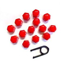 17MM SET 20 RED CAR CAPS BOLTS ALLOY WHEELS FOR NUTS COVERS ABS PC PLASTIC NEW